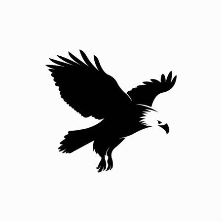 eagle silhouette vector, landed bird vector