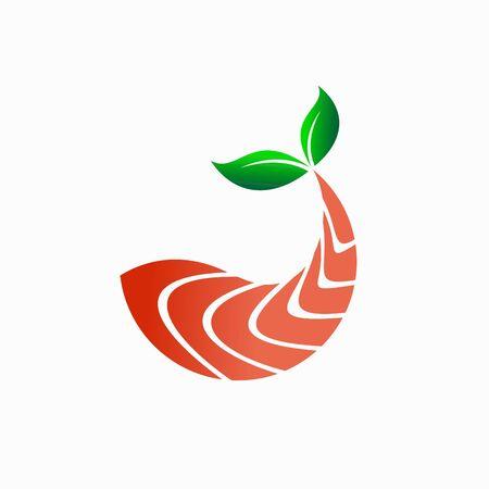 salmon meat vector logo, seaweed logo design Illustration