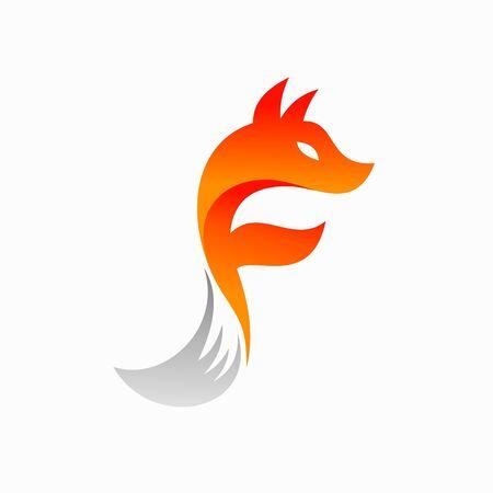 Fox logo design, letter F logo Illusztráció