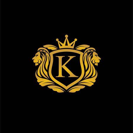 Lion king logo, shield concept design