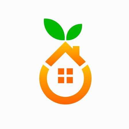 orange house logo, green house vector logo Illustration