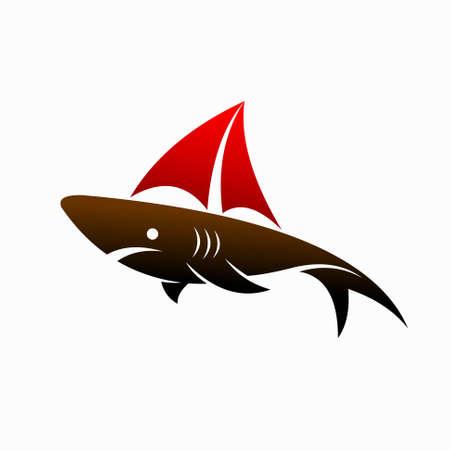 shark with yacht vector logo