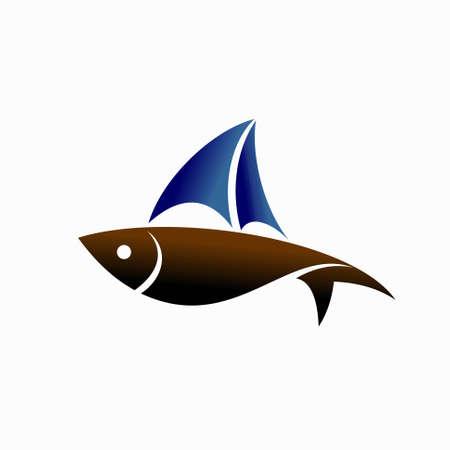 fish with yacht vector logo Illusztráció