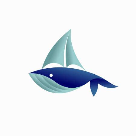 whale with yacht vector logo Illusztráció