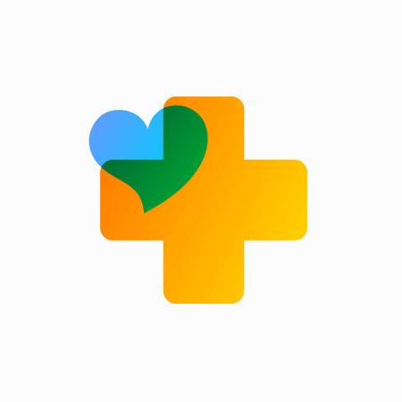 health symbol with love, transparent color concept