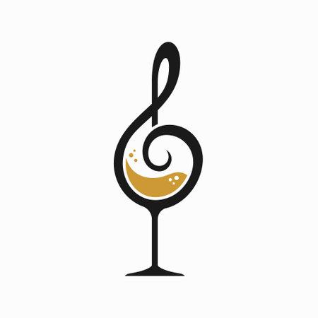 glass of wine and tone symbol vector Illusztráció