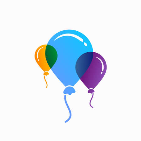 colorful balloons isolated on transparent background