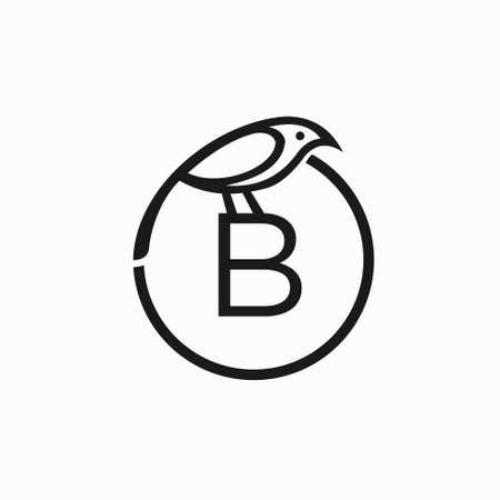 bird template logo, letter B bird vector
