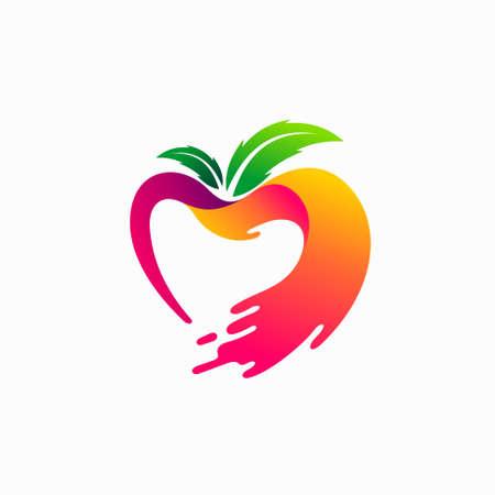 heart shaped apple vector, juice vector template