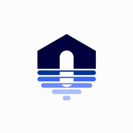blue house logo, waterproof house logo
