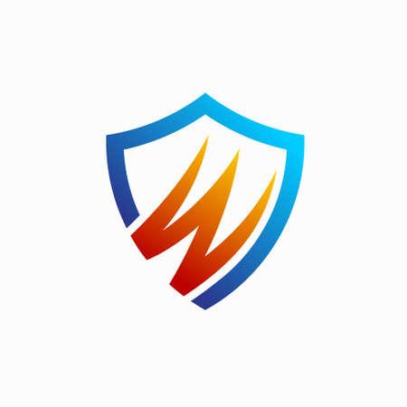 letter W shield, warrior logo design Illusztráció