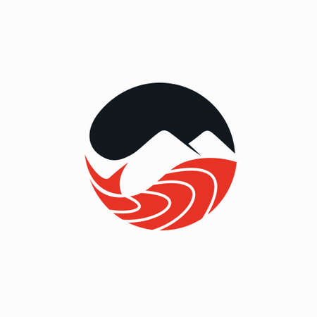 salmon vector with mountain silhouette