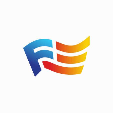 letter F Flag logo design
