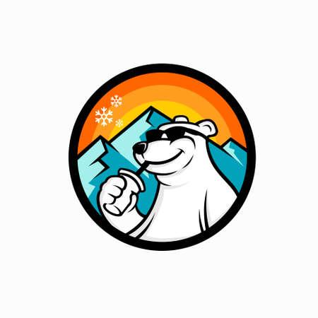 ccoffee bear mascot, cold coffee logo Illusztráció