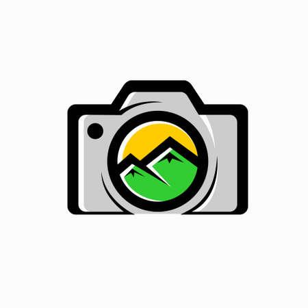 photo camera icon, mountain logo design