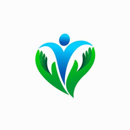 Human with love shape logo vector Illusztráció