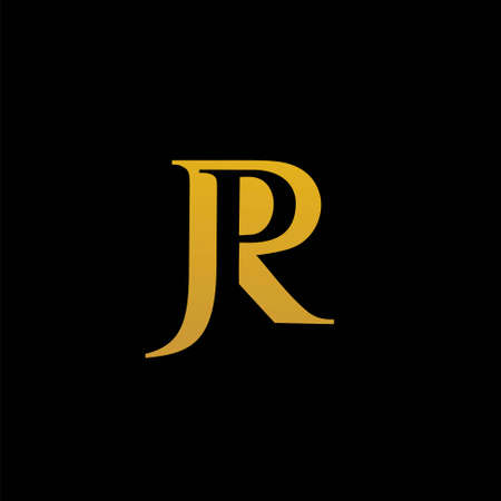 golden font letter J, P and R vector