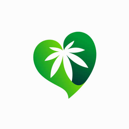 cannabis vector with love concept