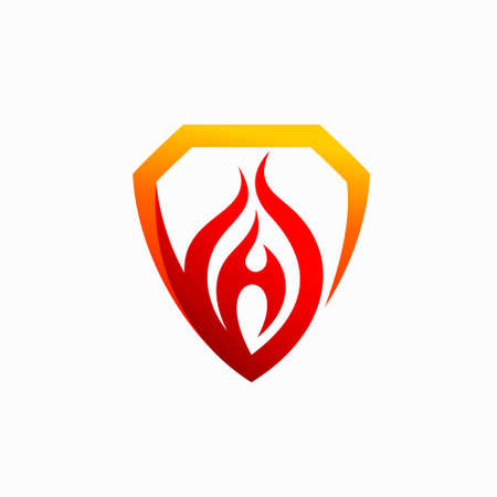 shield with flame vector logo