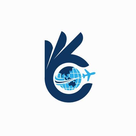 travel logo image with okay concept Illusztráció