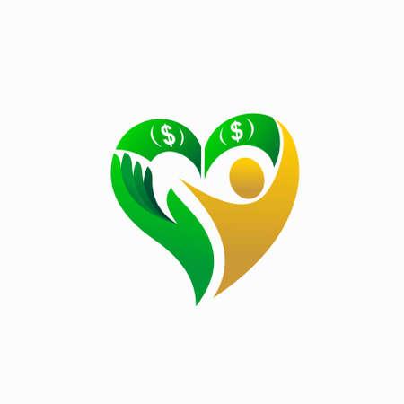 money vector with people vector logo Illusztráció