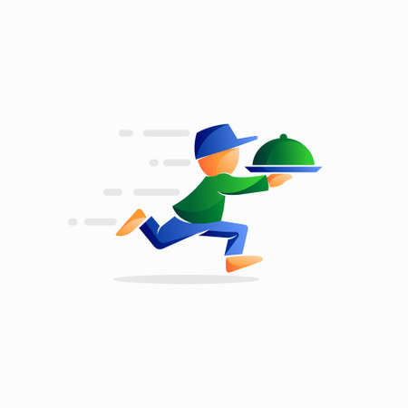 illustration of a food delivery person