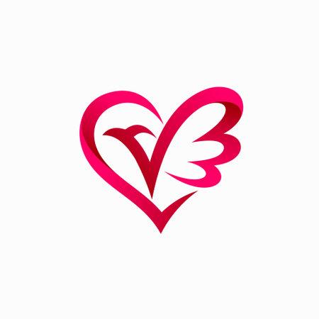 Dove lover logo, dove vector with love concept Logo