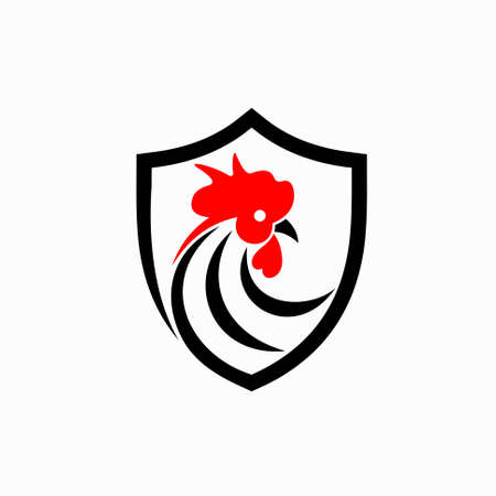 rooster logo with shield concept