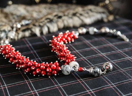 Necklace. Silver, hot enamel, coral, quartz with tourmaline. Stock Photo
