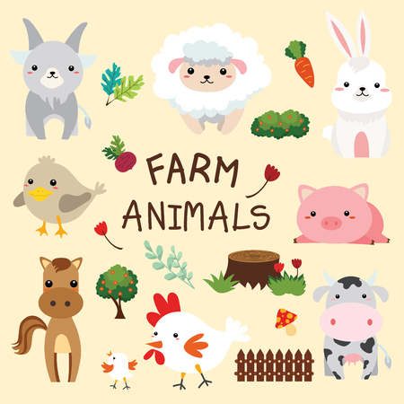 Illustration of farm animal cartoon animation.