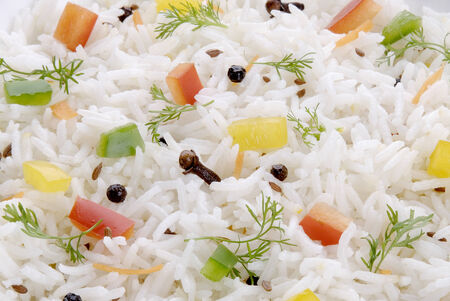 Steamed basmati rice with vegetables