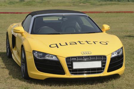 Yellow Audi R8 Quattro at Mumbai Super Car show India 2013