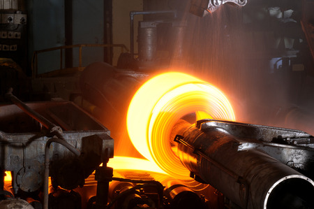factory power generation: Close up of Hot Steel Roll Stock Photo