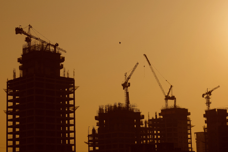 high rise building: High rise building being construced with tower cranes and moder technology with maximum safety.