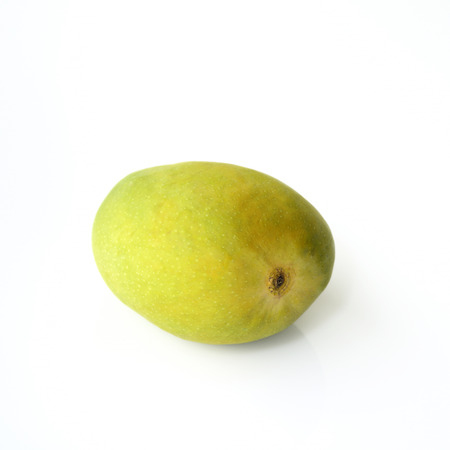 konkan: Green Alphonso Mango on White Background
