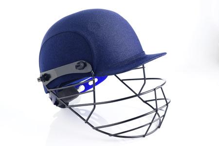 cricket helmet: Close up of Blue Cricket Helmet on White Background