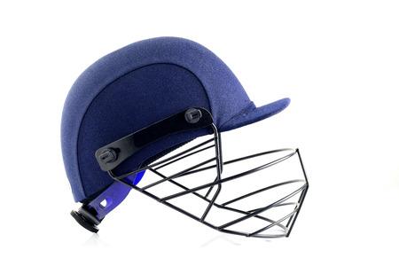 cricket helmet: Blue Cricket Helmet on White Background Stock Photo