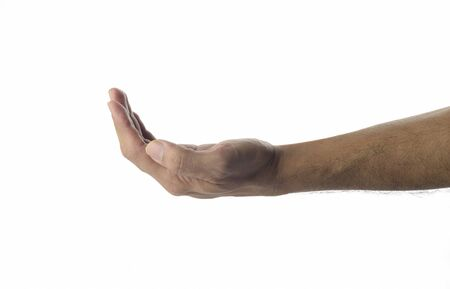 male hand: High resolution image of  human hand with receiving gesture on white background shot in studio