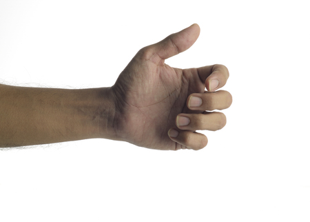 unknown age: High resolution image of human hand holding virtual smart phone shot in studio over white background Stock Photo