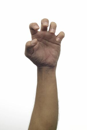 unknown age: High resolution image of scratching gesture with human hand on white background. This image can be used in horizontal orientation too Stock Photo