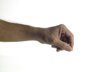 unknown age: High resolution image of human hand holding virtual pen shot in studio over white background