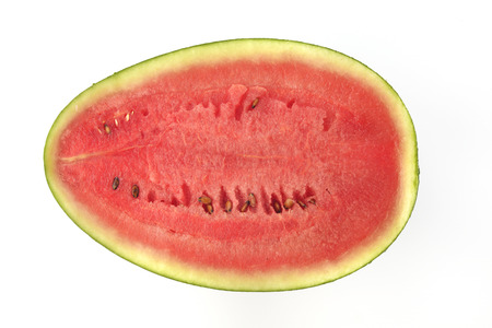 directly above: Cross Section of Watermelon Shot Directly Above in Studio.