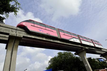 monorail: Mumbai, India - June 10, 2016: Mumbai Monorail is a monorail system in the city of Bombay, Maharashtra