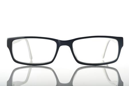 白背景に近代的な眼鏡のフロント ビュー