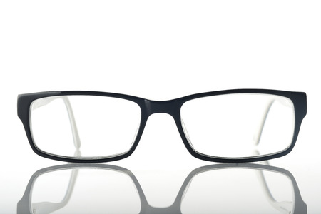 Front view of Modern Eyeglasses on White Background