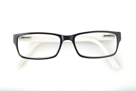 Top View of Eyeglasses on White Background