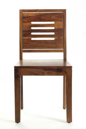 wooden chair: Front View of Brown Wooden Chair