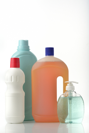 personal hygiene: Bottles of Household Cleaning and Personal Hygiene