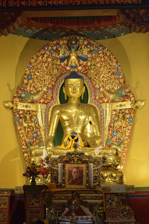 High resolution image of handcrafted copper 14ft high buddha statue gilded with gold at deden tsuklagkhang temple Dharamshala India.