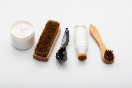 Shoe Polishing Cream And Brushes